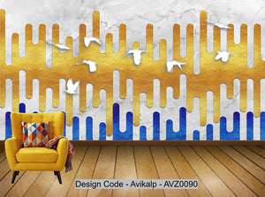 Avikalp Exclusive AVZ0090 Modern Minimalistic Geometric Abstract Block Surface Tv Background Wall HD 3D Wallpaper