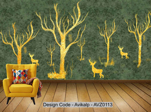 Avikalp Exclusive AVZ0113 Modern Minimalistic Abstract Gold Foil Tree Elk Tv Background Wall HD 3D Wallpaper