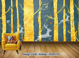 Avikalp Exclusive AVZ0114 Modern Minimalistic Golden Abstract Tree Elk Tv Background Wall HD 3D Wallpaper