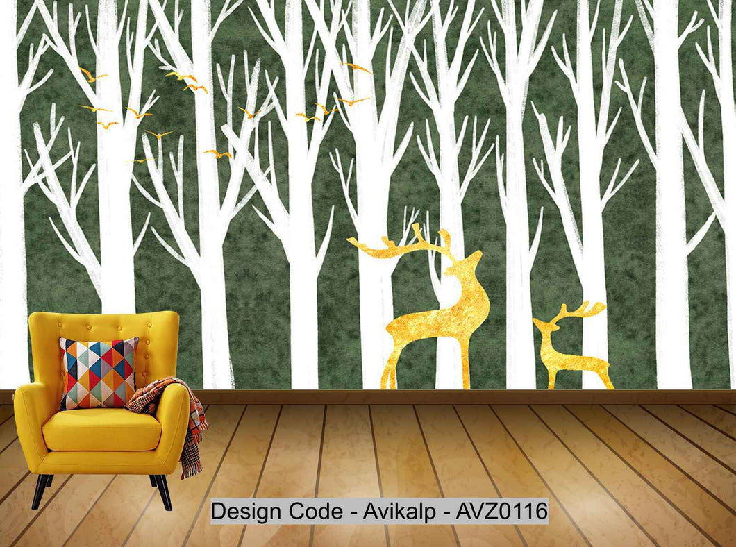 Avikalp Exclusive AVZ0116 Modern Minimalist Golden Abstract Tree Elk Tv Background Wall Custom HD 3D Wallpaper