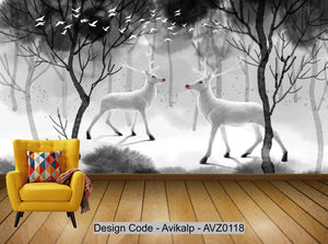 Avikalp Exclusive AVZ0118 Nordic Hand Painted Ink Abstract Elk Forest Background Wall HD 3D Wallpaper