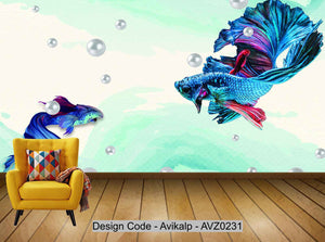 Avikalp Exclusive AVZ0231 Dark Blue Abstract Lines Guppies Jewels Background Wall HD 3D Wallpaper