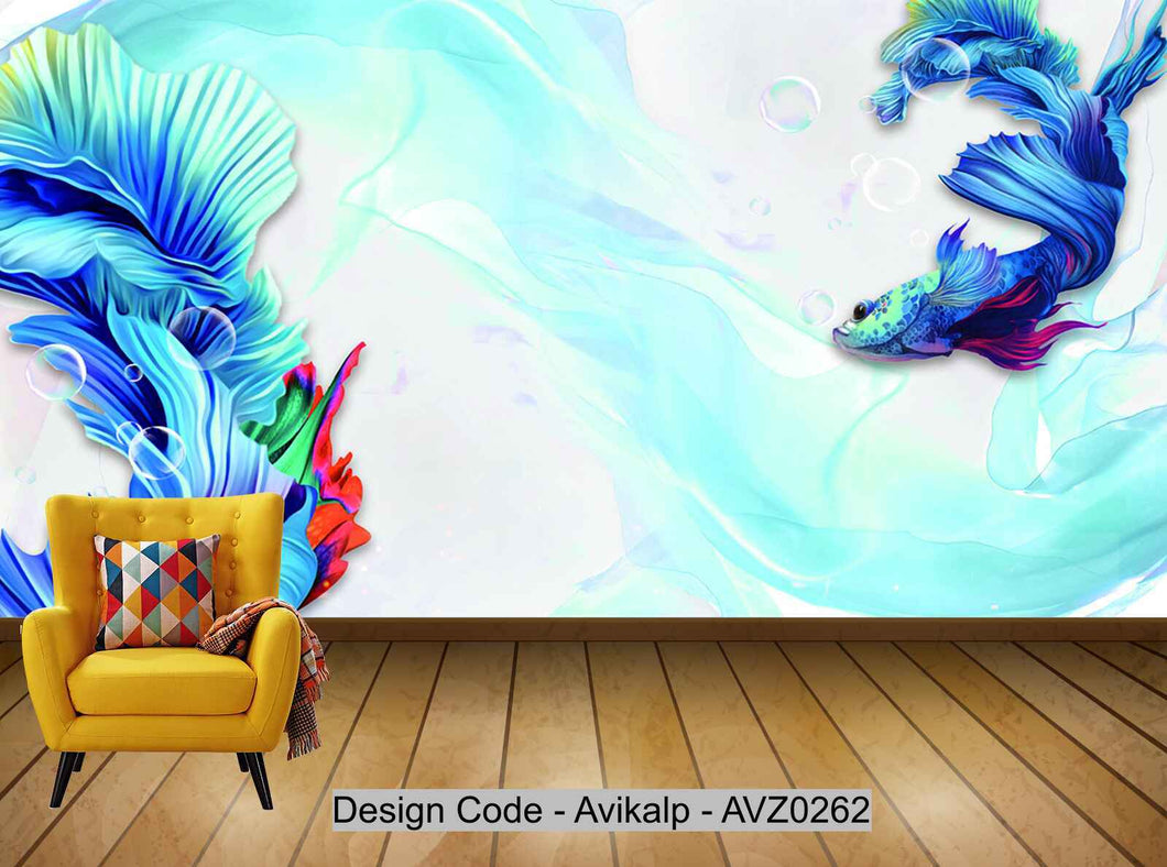 Avikalp Exclusive AVZ0262 Modern 3D Abstract Blue Guppies Background Wall HD 3D Wallpaper