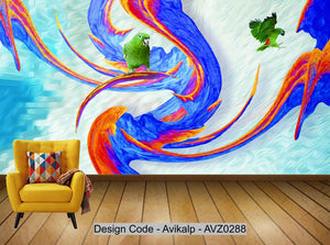 Avikalp Exclusive AVZ0288 Modern Creative Abstract Oil Painting Three Dimensional Parrot Living Room Wall HD 3D Wallpaper