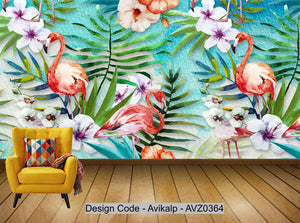 Avikalp Exclusive AVZ0364 Nordic Small Fresh Green Plant Leaves Flamingo Abstract Background Wall HD 3D Wallpaper