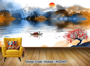 Avikalp Exclusive AVZ0407 New Chinese Abstract Landscape Painting Tv Background Wall HD 3D Wallpaper