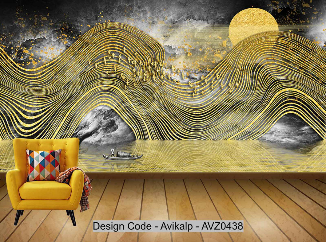 Avikalp Exclusive AVZ0438 New Chinese Style Golden Abstract Landscape Ink Background Wall HD 3D Wallpaper