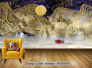 Avikalp Exclusive AVZ0439 New Chinese Style Golden Abstract Landscape Background Wall HD 3D Wallpaper