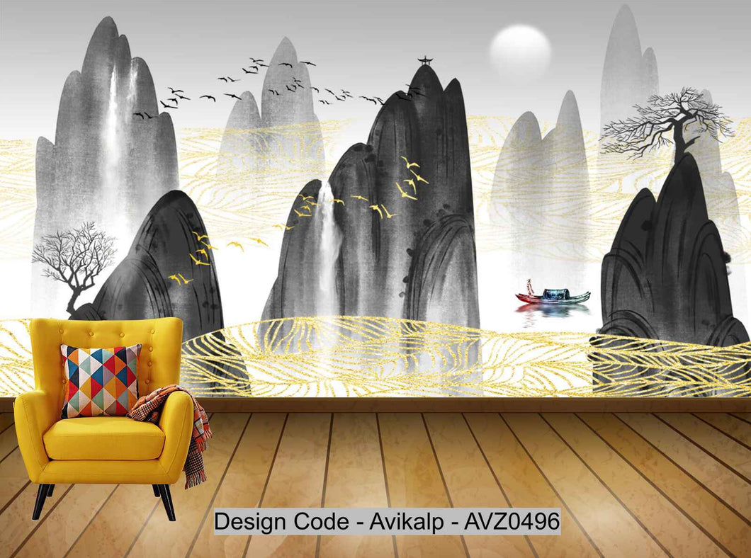 Avikalp Exclusive AVZ0496 New Chinese Abstract Ink Landscape Living Room Wall HD 3D Wallpaper