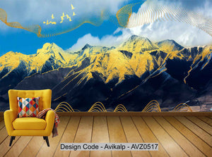 Avikalp Exclusive AVZ0517 Flying Bird New Chinese Abstract Golden Ink Landscape Tv Background Wall HD 3D Wallpaper