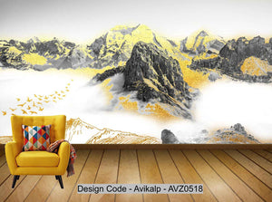 Avikalp Exclusive AVZ0518 New Chinese Flying Bird Abstract Golden Ink Landscape Tv Background Wall HD 3D Wallpaper