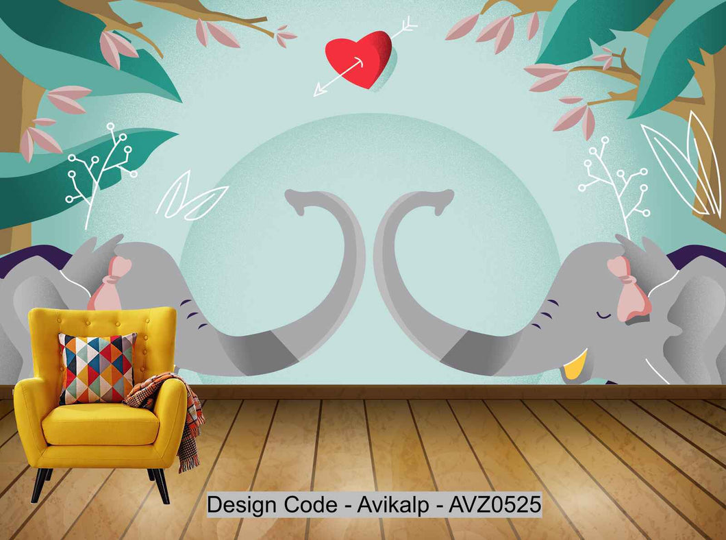 Avikalp Exclusive AVZ0525 Children's Room Cartoon Modern Nordic Flora And Fauna Tv Background Wall HD 3D Wallpaper