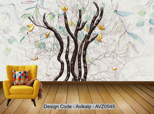 Avikalp Exclusive AVZ0545 Modern Nordic Beautiful Three Dimensional Embossed Deciduous Trees Abstract Background Wall HD 3D Wallpaper