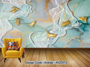 Avikalp Exclusive AVZ0572 Modern Minimalist Ink Painting Abstract Lines Flying Birds Tv Background Wall HD 3D Wallpaper