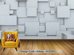 Avikalp Exclusive AVZ0583 3D Abstract Architectural Space Polygonal Tv Background Wall HD 3D Wallpaper