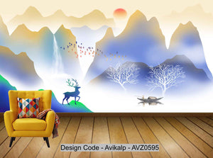 Avikalp Exclusive AVZ0595 New Chinese Gradient Abstract Landscape Painting Living Room Wall HD 3D Wallpaper