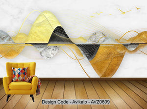 Avikalp Exclusive AVZ0609 Marble Texture Abstract Landscape Embossed Tv Background Wall HD 3D Wallpaper