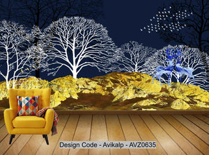 Avikalp Exclusive AVZ0635 Stereo 3D Abstract Woods Flying Birds Background Wall Painting HD 3D Wallpaper