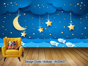 Avikalp Exclusive AVZ0637 Cartoon Dreamy Night Starry Sky Children's Room Tv Background Wall HD 3D Wallpaper