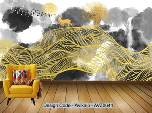 Avikalp Exclusive AVZ0644 New Chinese Abstract Ink Landscape Gold Background Wall HD 3D Wallpaper