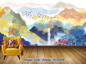 Avikalp Exclusive AVZ0648 Chinese Style Abstract Landscape Tv Background Wall HD 3D Wallpaper