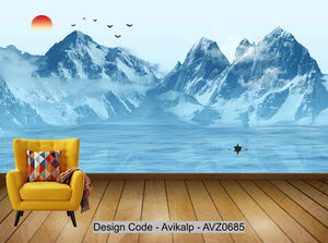 Avikalp Exclusive AVZ0685 Simple New Chinese Ink Landscape Abstract Tv Background Decorative Painting HD 3D Wallpaper