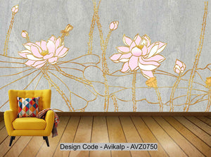 Avikalp Exclusive AVZ0750 Modern Minimalist Three Dimensional Embossed Lotus Tv Background Wall HD 3D Wallpaper