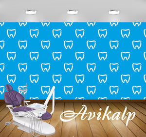 Avikalp Exclusive AWD0012 Dental Clinic Wallpaper Teeth White Outline HD Wallpaper