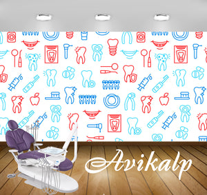 Avikalp Exclusive AWD0035 Dental Clinic Wallpaper White Blue Multiple Color HD Wallpaper