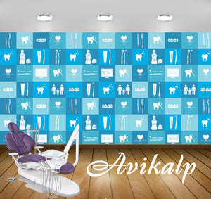 Avikalp Exclusive AWD0036 Dental Clinic Wallpaper White Blue Multiple Tools HD Wallpaper