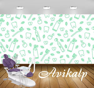 Avikalp Exclusive AWD0040 Dental Clinic Wallpaper White Green HD Wallpaper