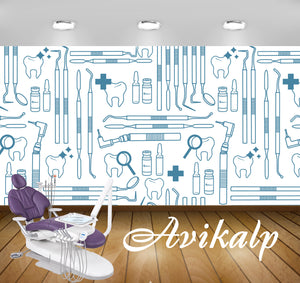 Avikalp Exclusive AWD0041 Dental Clinic Wallpaper White Multiple Tools HD Wallpaper