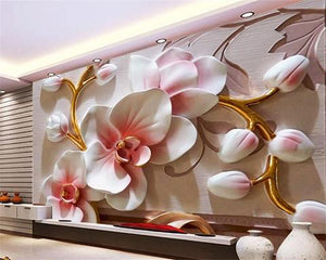 Avikalp Exclusive AWZ0084 Phalaenopsis Relief Wall Modern Fashion Floral Decorative HD 3D Wallpaper