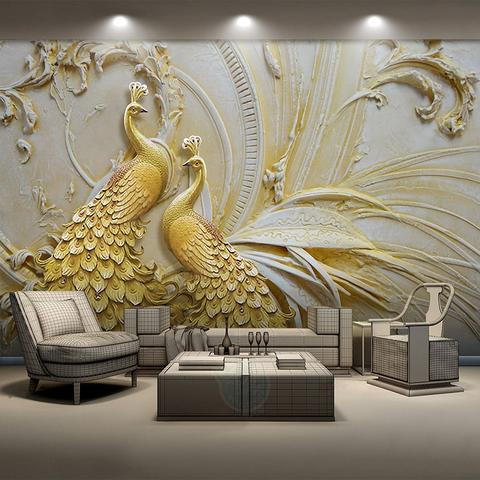 Avikalp Exclusive AWZ0099 Stereoscopic Embossed Style Golden Peacock  HD 3D Wallpaper
