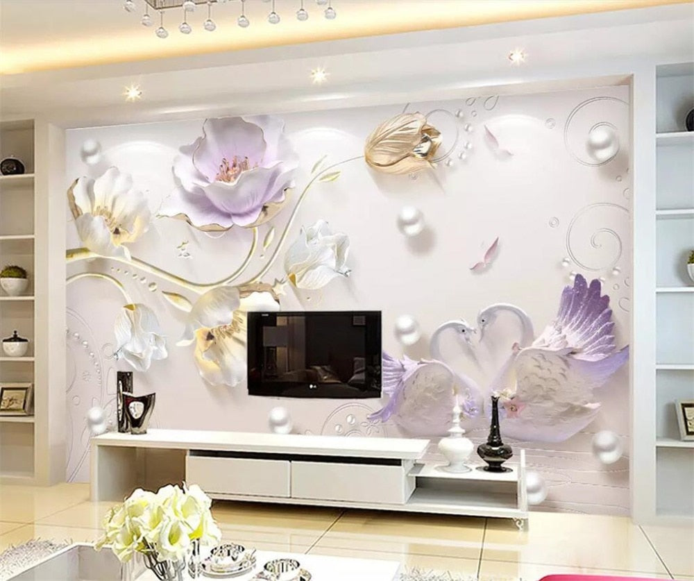 Avikalp Exclusive AWZ0179 Wallpapers 3d Mural Fresco Jewelry Relief Three Simple And Stylish New Tulip HD 3D Wallpaper
