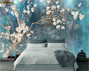 Avikalp Exclusive AWZ0236 3d wallpaper mural retro magnolia flower wall Nordic retro blue elegant HD 3D Wallpaper