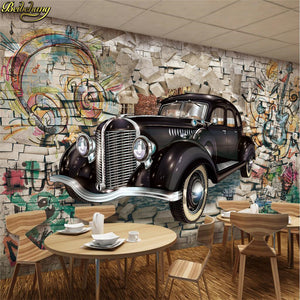 Avikalp Exclusive AWZ0237 3D Wallpaper Mural Retro Vintage Car Walking Wall 3D Stereo Restaurant Bar Mural Background HD 3D Wallpaper