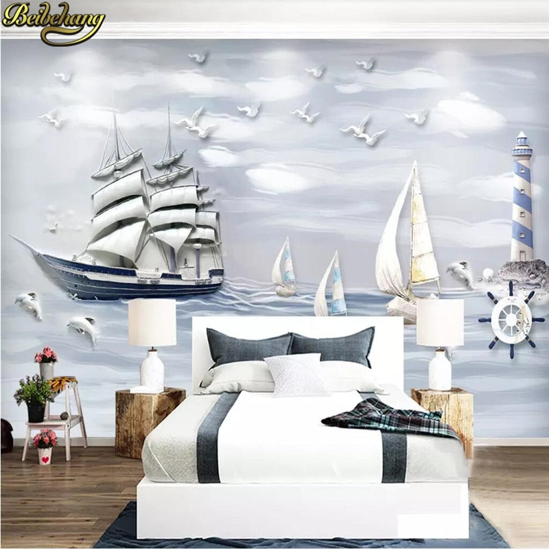 Avikalp Exclusive AWZ0250 3d wallpaper Sailing sailboat Mural wallpaper for walls 3d wallpapers for living room HD 3D Wallpaper