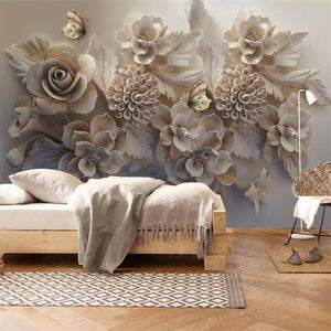 Avikalp Exclusive AWZ0257 3d wallpaper beautiful stereo mural relief living room flowers butterfly TV background HD 3D Wallpaper