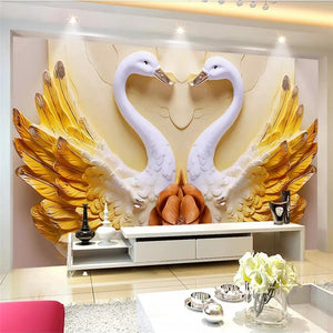 Avikalp Exclusive AWZ0267 3d Wallpaper 3d Mural Beautiful Love Theme Wedding Room Background Swan HD 3D Wallpaper