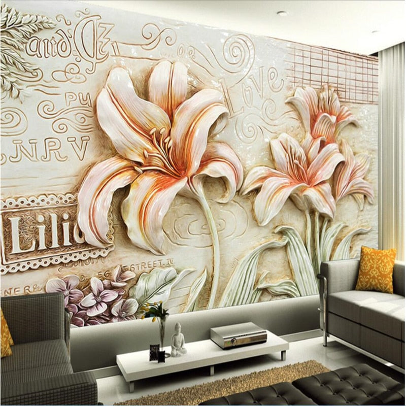 Avikalp Exclusive AWZ0325 3D Wallpaper Murals Orchids Lily Flowers Orange HD 3D Wallpaper
