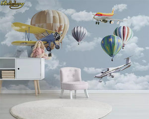 Avikalp Exclusive AWZ0329 3D Wallpaper Nordic Simple Cartoon Airplane Balloon Children Room Background HD 3D Wallpaper