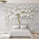 Avikalp Exclusive AWZ0336 3D White Bloom Flower Tree Nature Background HD 3D Wallpaper