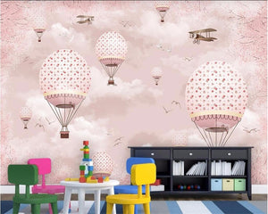 Avikalp Exclusive AWZ0340 3D Wallpaper Mural Personality Pink Cartoon Hot Air Balloon Children HD 3D Wallpaper