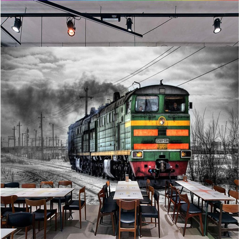 Avikalp Exclusive AWZ0356 3D Wallpapers Mural Retro Tale Black And White Steam Train Cafe Bar Mural Background HD 3D Wallpaper