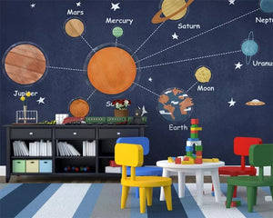 Avikalp Exclusive AWZ0362 Mural 3D Wallpaper Cartoon Hand Drawn Space Planet Universe Children Room Background Wall HD 3D Wallpaper
