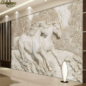Avikalp Exclusive AWZ0367 3D Wallpaper Relief Horse Mural Wallpaper Living Room Bedroom Landscape HD 3D Wallpaper