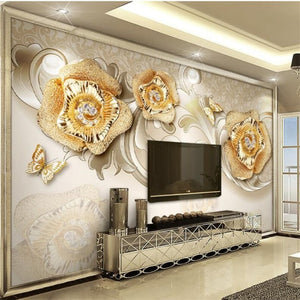 Avikalp Exclusive AWZ0383 3D Wallpaper 3D Beautiful European Style Golden Rose Butterfly Tv Background Wall HD 3D Wallpaper