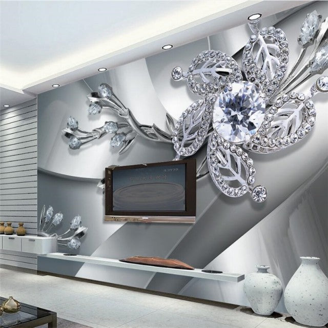 Avikalp Exclusive Awz0388 3d Wallpaper Modern Silver Diamond