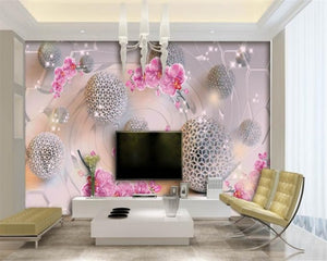 Avikalp Exclusive AWZ0407 3D Wallpaper Interior Art Floral Art Ball Background HD 3D Wallpaper